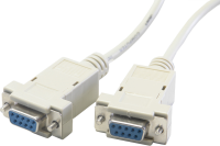 Serial null modem cable, f/f, 9 pin, 2 m